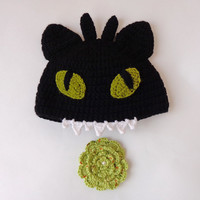 Toothless Hat From How to Train Your Dragon With Flower Pin For Girl Newborn Adult Photo Prop Baby Hat With Big Flower Halloween / Cosplay