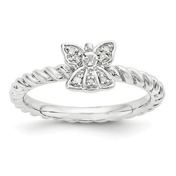 Sterling Silver Stackable Expressions Diamond Angel Ring