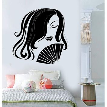 Vinyl Wall Decal Asian Woman Geisha Hand Fan Oriental Art Girl Stickers Unique Gift (ig3800)