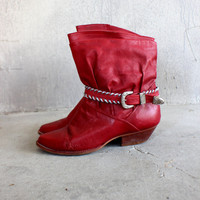 Vintage Ankle Boots Buckle Red Leather Women's Size 7 1/2