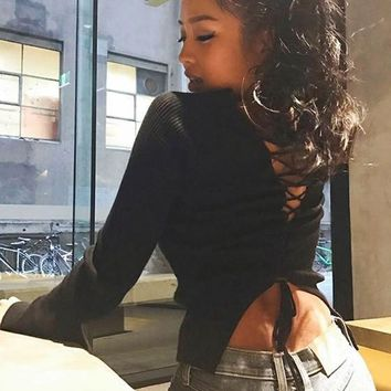 Black Cut Out Lace-up Cross Back Open Back Long Sleeve Casual Pullover Sweater