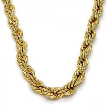 Gold Tone Basic Necklace, Rope Design, Gold Tone