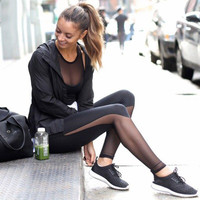 Women Slim Gym Clothing Mesh Panels Stretch Jogging Sports Gym Leggings Sheer See-through Patchwork Pants Fitness Skinny Trouser