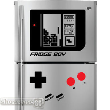Retro Falling Blocks Fridge Boy - Vinyl Wall Art - FREE Shipping - Fun Vintage Game Wall Decal