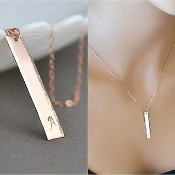 Hammered Bar Necklace, Personalized Gold Bar Necklace, Vertical Bar, Name Necklace, Hammered Jewelry, Rose Gold or Silver Bar