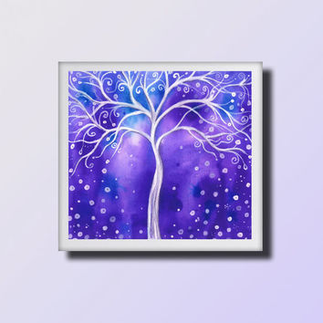 Purple & Blue Abstract Landscape, Original Watercolor Painting,  Fantasy Art,  White Angel tree,   Wall and Home decor