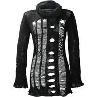 Women's black turtleneck top with holes by Punk Rave