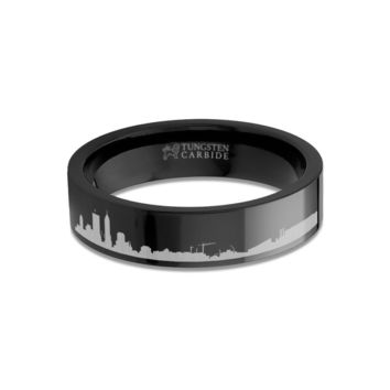 Indianapolis City Skyline Cityscape Engraved Black Tungsten Ring