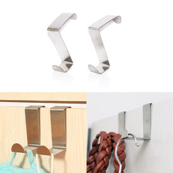 Free Shipping 2PCS Stainless Steel Self Home Kitchen Wall Door Holder Hook Hanger Hanging Coat Hooks