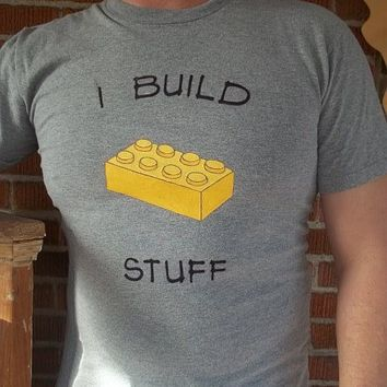 I Build Stuff Block Custom Tee - architectural font - Free shipping USA