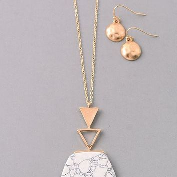 Natural Pentagon Stone Pendant Necklace Set - Marble