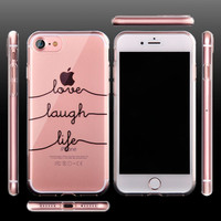 Unique Fashion Portuguese Words Case For iPhone 7 Transparent TPU Soft Cover For iPhone7 Plus 6 6S 5S Clear Silicone Rubber Capa -0315