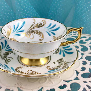 Vintage Paragon 1960's Tea Cup and Saucer, Hand Painted Teacups, Blue Gold, High Tea,  Wedding Gift for Bride from Groom, Teal Wedding