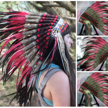 Indian Warbonnet, Native American Headdress, Rave Headdress, Chief Indian, Edc edm outfit, Boho, Wonderland, Christmas gift