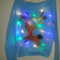 Rudolph Light Up Ugly Christmas Sweater with Multicolor LED Lights!!!