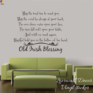 Irish Blessing Wall Sticker Living room Bedroom Old Irish Blessing Saying Inspiration Motivation Quote Wall Decal Vinyl Decor