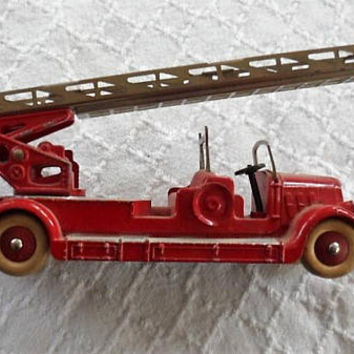 Vintage 1954 Original DINKY TOY  DELAHAYE Model 32D Fire Engine Made in France/Original Dinky Toy Fire Engine/1954 DinkyToy Red Fire Engine