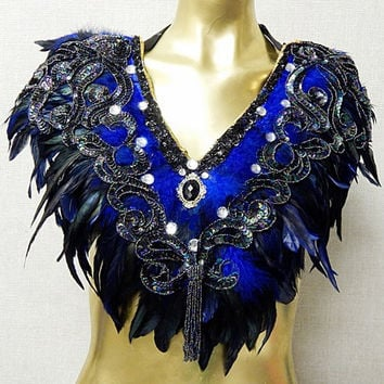 Victorian Royal Peacock Beaded Feather Collar  Romantic Elegance New SALE