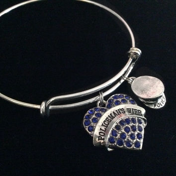 Policeman's Wife Expandable Charm Bracelet Adjustable Wire Bangle Gift Police Hat Blue Crystals