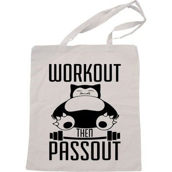Pokemon Snorlak Workout Then Passout Handmade Bag, Canvas Bag, Tote Bag