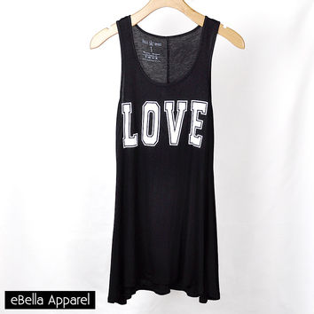 Love - Women's Black Tunic, Graphic Print Tank Top