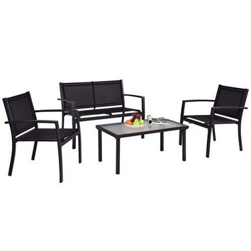 Modern 4-Piece Outdoor Patio Furniture Set with Sling Chairs & Coffee Table