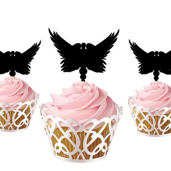 6 pcs in one set angle CupCake toppers cake decor for birthday party, acrylic cupcake toppers for baby shower, funny cake topper