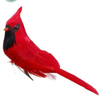 "Red Artificial Christmas Cardinal Bird with Clip - 6"" Long"
