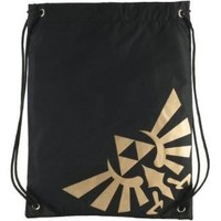 Bioworld Nintendo Legend Of Zelda Logo Cinch Drawstring Bag (Black & Gold)