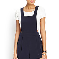 FOREVER 21 Pleated Convertible Overall Romper Navy