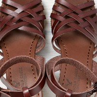 AEO Women's Strappy Ankle Wrap Wedge Sandal (Medium Brown)
