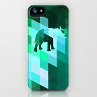 Emerald Elephant iPhone & iPod Case by Deniz Erçelebi