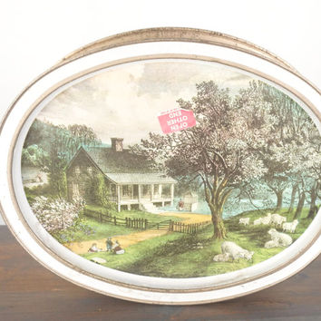 Vintage Cookie Tin, Kitchen Storage Box, Sunshine Biscuit Company Homestead Series