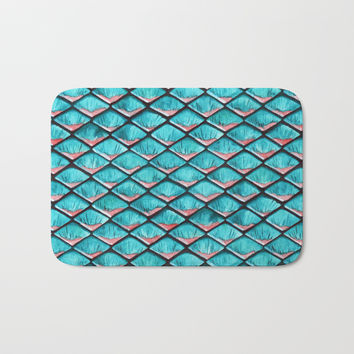 Teal blue and coral pink arapaima mermaid scales Bath Mat by savousepate