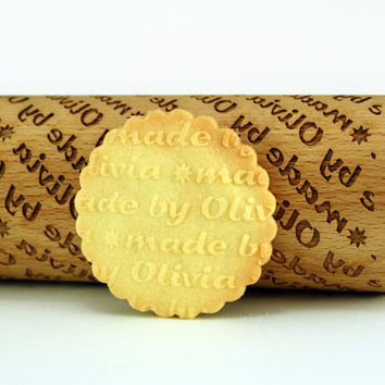PERSONALIZED rolling pin, made by pattern, custom rolling pin, engraved rolling pin with name – Embossing wooden rolling pin