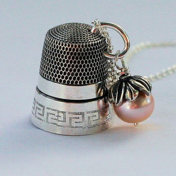 Antique Sterling Silver Thimble and Freshwater Pearl Necklace Peter Pan and Wendy Kisses Thimble and Acorn Necklace in Sterling Silver