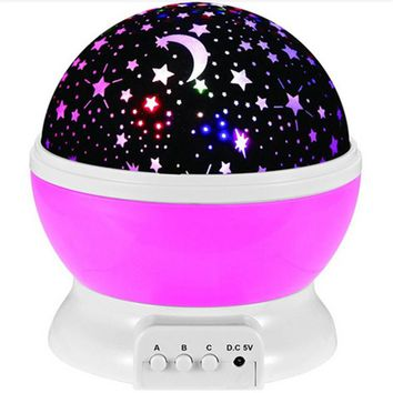 Romantic Led Night Lamp Rotating Starry Star Moon Sky Rotation Night Lighting Projector Lamp Kids Children Baby Sleeping Lights
