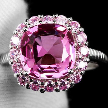 A Vintage 3.4CT Cushion Cut Pink Sapphire Halo Ring