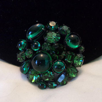Regency Vintage Estate Designer Brooch Bejeweled Geometric Green Glass Rhinestone Gun metal Pin