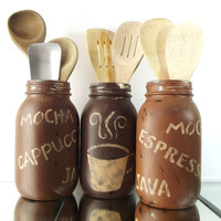 Kitchen Decor, Quart Size Mason Jars | Coffee Themed, Painted Mason Jars - Shades of Brown, Distressed - Rustic Mason Jars