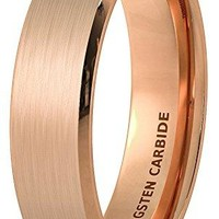 6mm Rose Gold Brushed Tungsten Ring Beveled Edge Comfort Fit (14k, 18k Rose Gold)