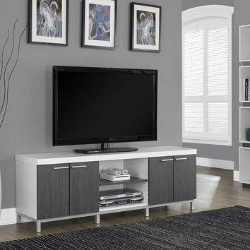 "White / Grey Hollow-Core 60""L Tv Console"