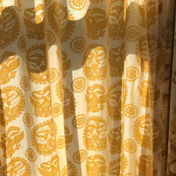 Mid Century Pleated Drapes Gold and White Vintage Curtains One Pair