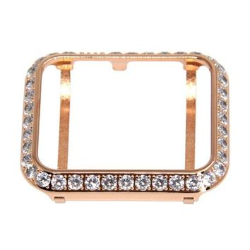 Series 4 Apple Watch Band Bezel Rose Gold Case Cover 40mm 44mm Large 3mm Rhinestone Crystals Lab Diamonds Womens Mens Cz's Bling