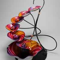 7 Bowl Sunset Twist Fountain by Tom Bloyd: Art Glass Fountain | Artful Home