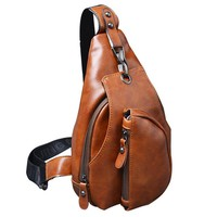 Trendy New Men Messenger Bags Business Chest Pack Functional Travel Bag Pack Shoulder Strap Crossbody Bags For Male Leather Bags