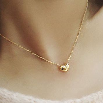 N423 Fashion Jewelry Small Heart LOVE Pendants Necklaces Clavicle Collares for Women  Accessories