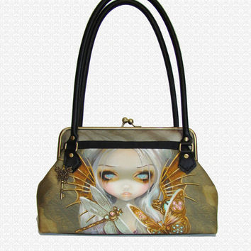 Custom Purse Steampunk Fairy with Dragonfly