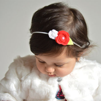 Double Red White Roses Flower Pearl Headband – Baby, Children, Adults