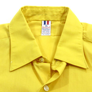 Vintage 1960's Yellow Short Sleeved Shirt - Men's Size Large L Lrg - Sale